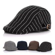 Unisex Kids Classic Striped Beret Children Flat Cap Newsboy Duckbill Hat Driving Caps Adjustable Wool Berets For Boys And Girls