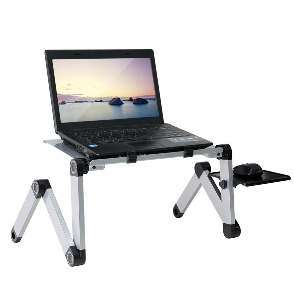 Portable Adjustable Aluminum Laptop Desk Stand Table Vented Ergonomic TV Bed Lap Stand Up Working Office PC Riser Bed Sofa Couch(China)