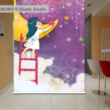 MOMO Blackout Baby Childhood Window Curtains Roller Shades Blinds Thermal Insulated Fabric Custom Size , Alice 381-386