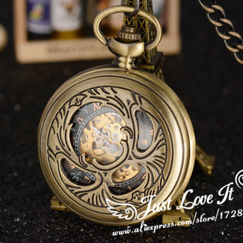 Vintage Mens Womens Antique Bronze Tone DAD Pendant Mechanical Hand Wind Pocket Watch relogio de bolso with Chain<br><br>Aliexpress