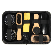 Mayitr 7 in 1 Cleaning Brush Kit Shoe Brush Cleaning Set Kit Travel Case Black Neutral Shoe Shine Polish Brushes