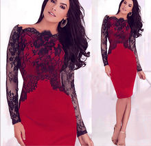 Womens Summer Dresses 2017 Womens Elegant Mujer Pinup Floral Lace Peplum Mesh Patchwork Club Fitted Dress Plus Size xxl(China)