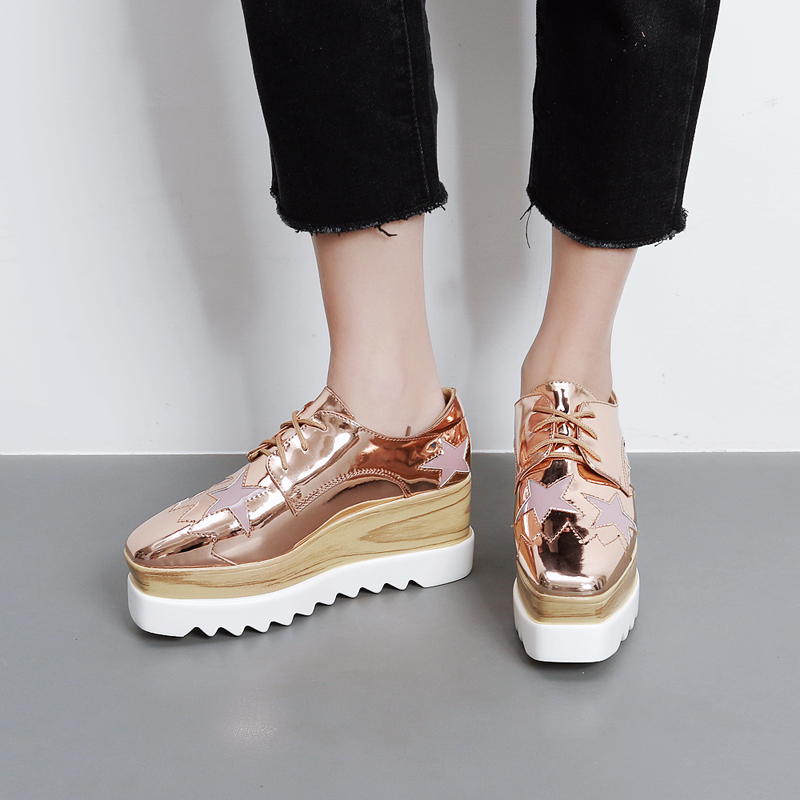 Womens Platform shoes fashion female stars Lace square head casual Comfortable wedges shoes Patent leather high platform shoes<br>