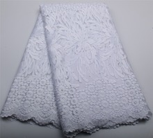 2017 Embroidered African White lace Fabric High Quality Guipure Lace Fabric For Wedding Dress XZ326B-1 French Net Lace Fabric(China)