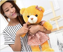 lovely light brown bear toy teddy bear with flower skirt cute brown bear doll gift doll about 50cm