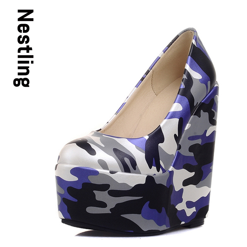 Size 34-43 New 2017 Autumn Fashion Camouflage Women Pumps Sexy High Heels Women Wedges Platforms Shoes Woman Party Shoes D35<br><br>Aliexpress