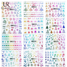 1Sheet Colorful Gradient Nail Stickers Simple Christmas nail sticker Design  Nail Art Decorations BESW001-SW012