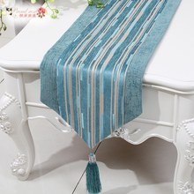 1 Piece Chinese Style Chenille Table Runner/ Modern and Simple Stripe Retro Table Runner/ Fashion Sharp Corner Table Runner