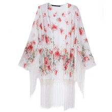 New Women Fashion Elegant Yellow Flowers Floral Printed Tassel Kimono Cardigan Blouse Female  Brand Cape Outwear Jacket