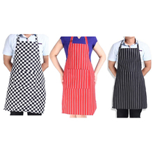 New Adjustable Black Stripe Bib Apron with 2 Pockets Chef Waiter Kitchen Cook Tool 1Pcs