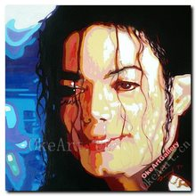Hand Painted Modern Oil Painting On Canvas POP Art Audrey Michael Jackson Portrait Wall Decor Bedroom Wall Pictures