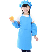 Multifunction Kids Apron Kit Funny Apron With Sleeves Hat Big Pocket Design 5 Colors Kitchen Cooking Painting Set(China)