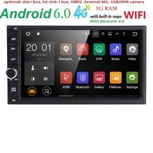 Quad core 2 din android 6.0 universal Car Radio Double Car DVD GPS Navigation In dash Car PC Stereo video free shipping swc dvbt(China)