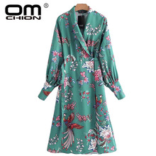 OMCHION Chinese Style Phoenix Printing Women Vintage Kimono Dress 2018 New Spring Autumn Long Sleeve Female Green Dresses LQ092(China)