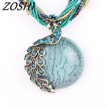 7 color Peacock Statement Choker Vintage Charms Collar Natural Stone Pendant Rhinestone Crystal Necklace Women Jewelry Colares