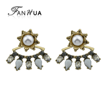FANHUA Vintage Style Antique Gold Color with Rhinestone and Simulated-pearl Flower Stud Earrings Ear Jacket For Women(China)