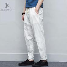 ZEESHANT Pantalon Homme Casual Trousers Men Linen Pants Men Brand Pants Men Linen Loose Style Flax Mens Pants Men Clothing 5XL