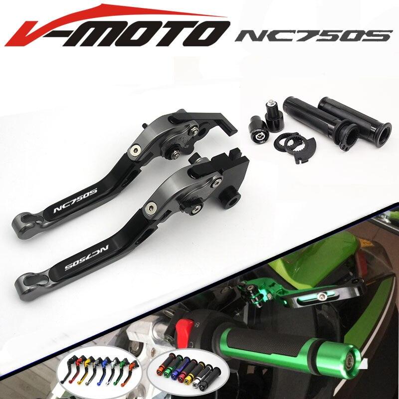 For HONDA NC750 NC750S NC750X NC 750S/X 2014 2015 CNC Folding Brake Clutch Levers Handlebar Hand Grips 1 Set<br>