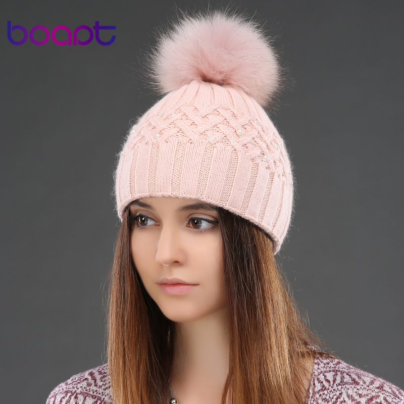 BOAPT Genuine Natural Raccoon Fur Winter Rabbit Double-deck Velvet Hats For Women Pearl Embed Caps Female Skullies BeaniesОдежда и ак�е��уары<br><br><br>Aliexpress