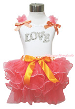 Valentine Sparkle White Love White Pettitop Baby Girl Coral Petal Skirt NB-8Year MAMH238