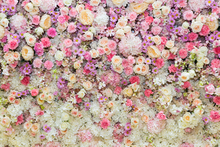 Variously colored flowers cluster background Valentine's day backdrops for lovers wedding backdrop background D-8194