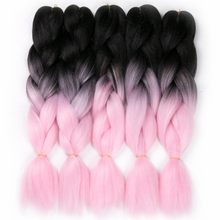 VERVES 10 piece 24'' Synthetic yaki straight 100g/pcs ombre Braiding Hair extensions,high temperature Fiber,pink color
