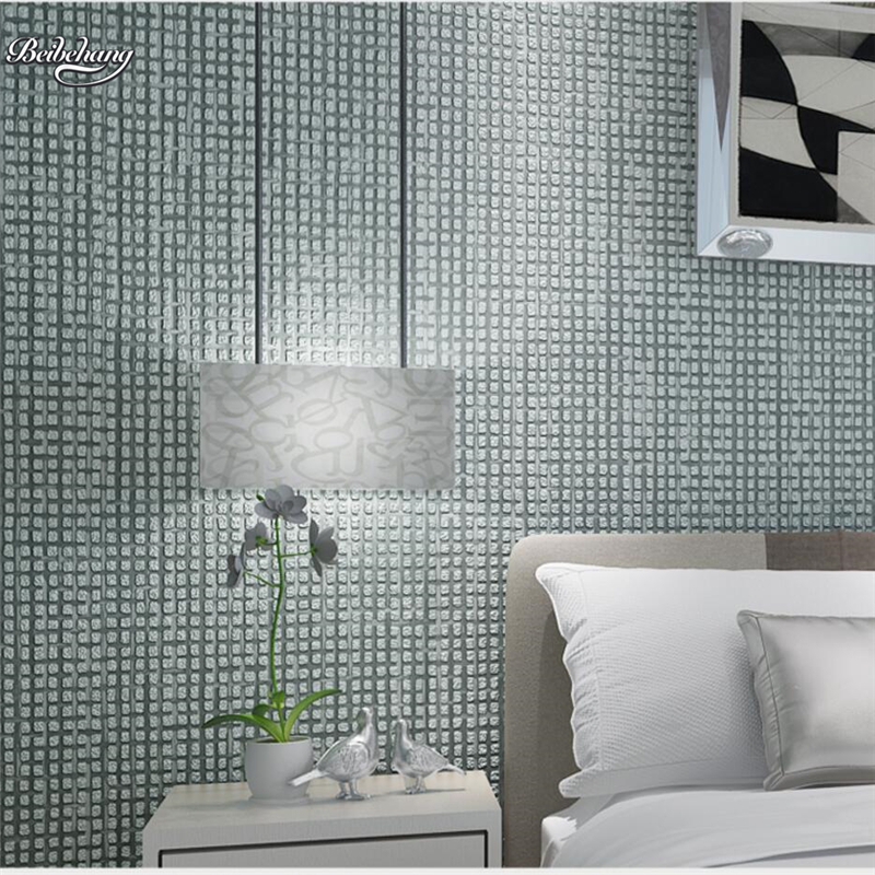 beibehang Modern simple lattice flocking non - woven pearl wallpapers living room bedroom background wall aisle wallpaper<br>