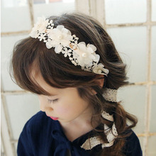 Fashion Sweet Girl Retro Hair Band Kids Headband Lace Crochet Flower Imitation pearls Hairband Ribbon Hair Headwear Gift