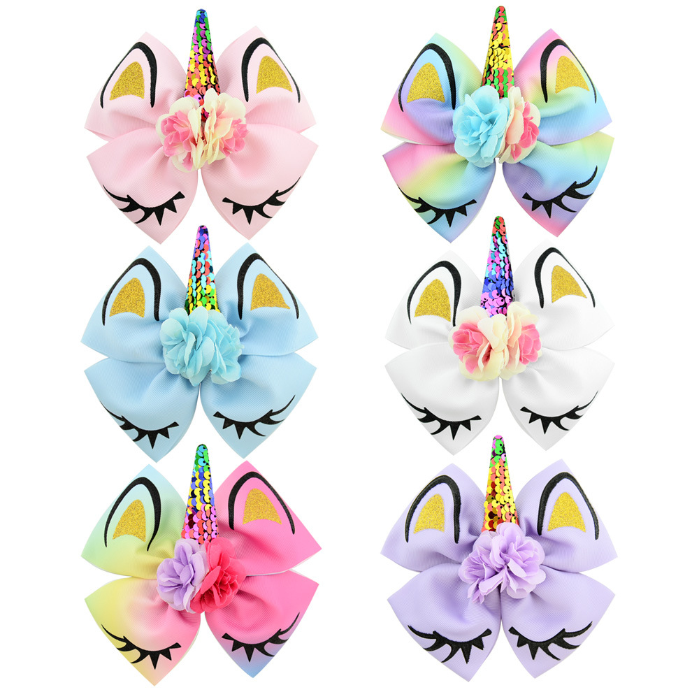"Baby Girls Women 4pcs 6/"" Large Glitter Bow Unicorn Hair Clips Barrettes Hairbow"
