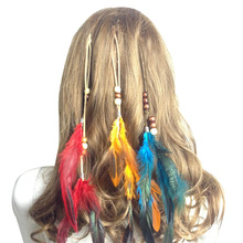 Fashion Red Feather Headband Native American Yellow Headband Bohemian Headband Indian Peacock Green Hair Accessories For Women