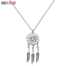 SHEEGIOR Bohemian Vintage Long Necklace Women Love Spider Web Blue Stone Necklaces Silver color Chain Choker Bijoux Jewelry Gift(China)