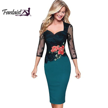 Fantaist Women Sexy Deep V Neck Scalloped Edge Patchwork One Piece Elegant Cocktail Party Formal Work Floral Lace Pencil Dress(China)