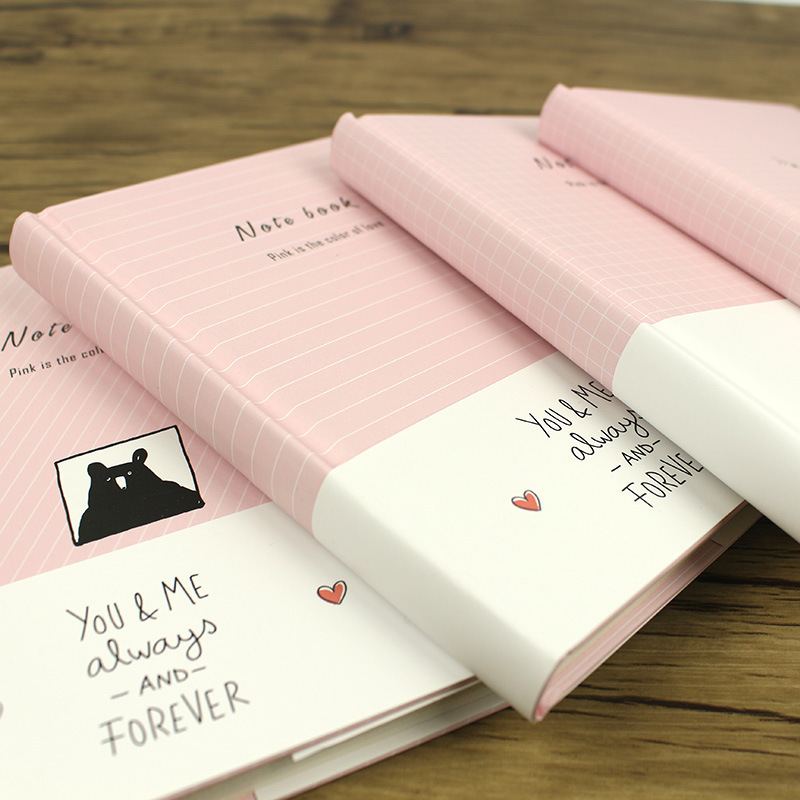 Korea Originality Love Diary A6 Pink Delicate Girl Heart Lovely Notebook Stationery Concise Small Fresh Notepad<br>