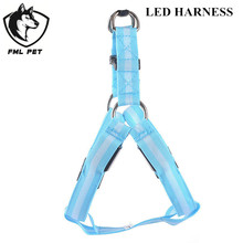 LED Lights Nylon Large Pet Dog Harness Collar Products Dog Traction Belt 8Colors 5 Sizes For All Types Of Dogs