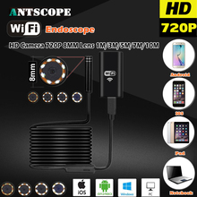 8MM OD 2MP 8LED HD720P Wifi Endoscop Android USB IOS Endoscope Camera Flexible Hard Wire Tube Cable Vehicle Pipe Inspection Cam(China)