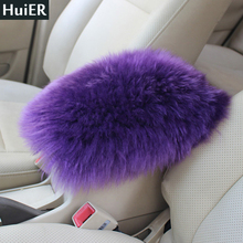 HuiER Australia Thick Pure Wool Car Seat Cover Auto Center Console Arm Rest Seat Box Car Covers Soft Mats Cushion Free Shipping