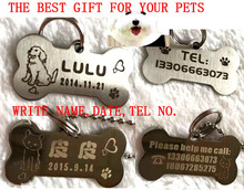 high quality stainless steel engraving carve dog name tel tag cat dog puppy pet ID tag 2X4CM permanent memory pet tag incisione(China)