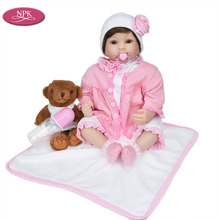 New Born Silicone Reborn Babies Doll + Soft Toys Bear Handmade Girl Doll Looking Real Baby Lifelike Bebe Reborn Menina Bonecas(China)