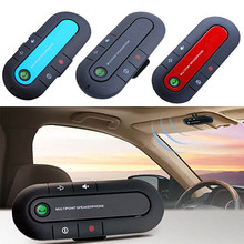 Rechargeable Car Bluetooth Wireless Speaker Phone Slim Magnetic Handsfree Car Kit Music Player Visor Clip with Car Charger