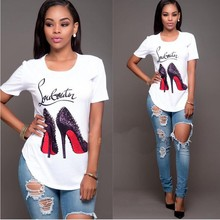 Summer Casual letter high heels print T shirt women short sleeve princess t-shirt O-neck tops plus size female tshirt wholesale