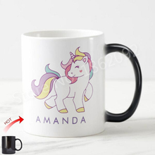 Custom Unicorn Magic Mug Personalised Unicorn Morph Mugs Heat Sensitive Color Changing Kids Coffee Cup Ceramic Magical Mugs Gift(China)