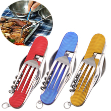 3 in 1 Folding Stainless Steel Spoon Fork Knife Tableware Multi Tool for Camping Outdoor Survival Tools