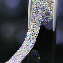 1 yard Top-Grade Crystal AB Glass Wide Rhinestone Cup Chain Silver Base Trim Applique Sew on Rhinestones For Garments