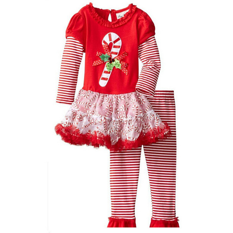 Baby girls clothes Newborn baby Christmas warm striped fleece Pullover pants children girls clothing sets kids clothes tracksuit<br><br>Aliexpress