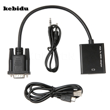 kebidu Latest Full HD 1080P VGA to HDMI Audio Video Cable Adapter Converter with USB Cable Audio Cable for Laptop PC DVD HDTV(China)