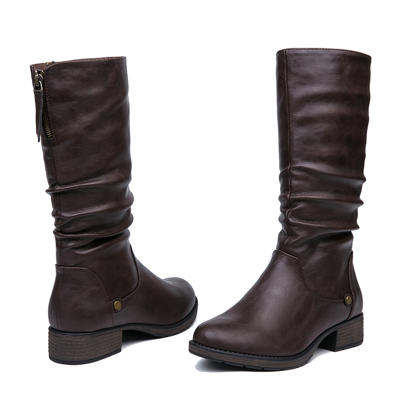 IMG_5616AIMEIGAO New Autumn Winter Mid-calf Women Boots Flats Heels Warm Plush PU Leather Boots High Quality Knee High Boots