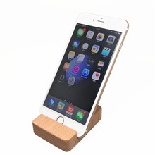 100% Beech Wood Wooden Cradle Display Universal Stand Phone Holder Charging Dock for iPhone 5s 6 6s Plus xiaomi mi5 redmi note 3(China)
