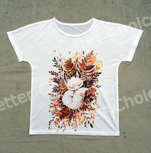 Track Ship + New Summer Fresh T-shirt Tee T Top Tee Cartoon Quiet Tattoo White Fox Sleeping in Bush Brushwood Tree 0591