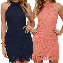 Buy Womens Elegant Wedding Party Sexy Night Club Halter Neck Sleeveless Sheath Bodycon Lace Dress Short