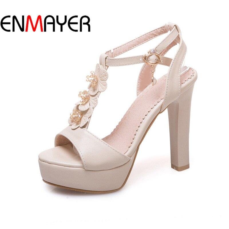 ENMAYER Woman High Heels Shoe Leisure Slingback Spring10.5 Fashion T-Strap Simple Peep-Teo Shoe Platform Party Shoe Platform<br>
